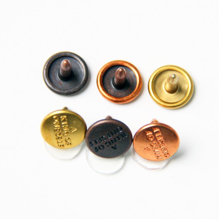 OEM Wholesales Custom Logo Brass Metal Copper Studs Button Cap Nail For Denim