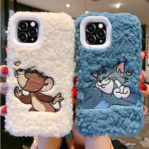 "New Hot Sale Cute Cartoon Furry Case for iPhone 11 Pro 5.8"" Faux Fur Warm Plush Phone Cover for Girls Winter"