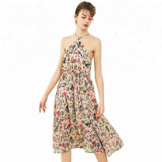 Beautiful Print Midi Sexy Backless Flow Long Women Floral Spaghetti Strap Beach Dress
