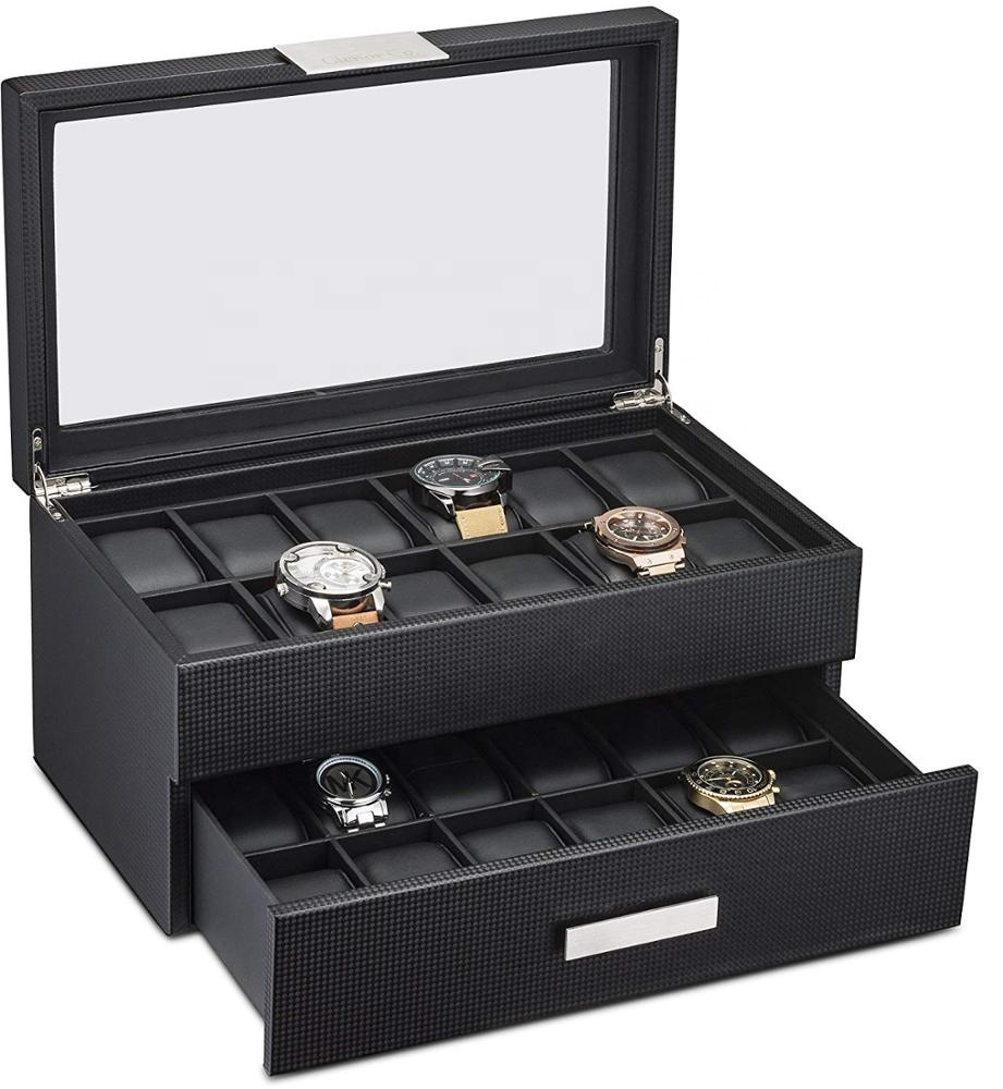 24 slot watch strap slot box black paper womens ladies leather with pillow gift watch box 24 slots