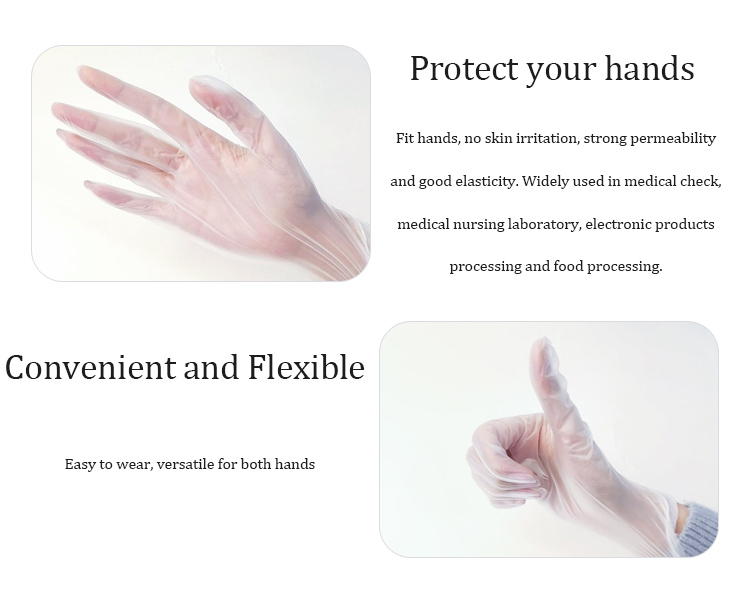 Latex free disposable gloves / Powder free vinyl gloves