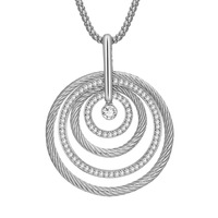 2019 Europe and America long circle charm sweater necklace