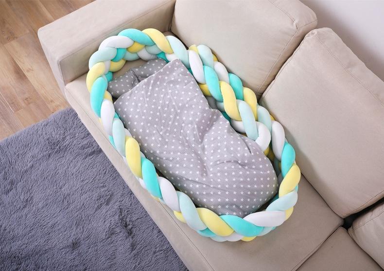 1 м/2 м/3 м детский бампер кровать коса узел Подушка бампер для младенцев Bebe защита для кроватки Детская кроватка бампер