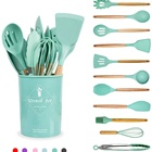 Free Sample Pink 6-color 12 pcs Wooden Handle Cooking Tools Accessories Gadgets Silicone Kitchen Utensil Set