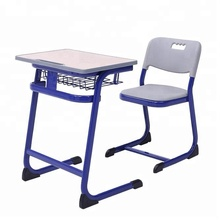 High Quality University School Single Study Wooden Student Desk And Chair