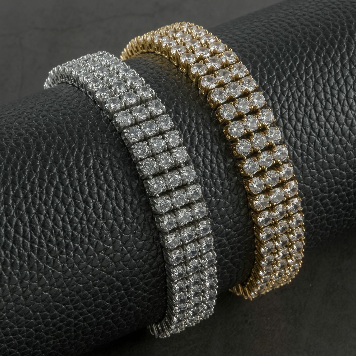product-BEYALY-Hiphop Style Mens Stainless Steel Bracelet With Three Rows Of 3A Zircon-img