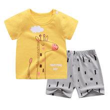 Комплект летней одежды для мальчиков и девочек, футболка с коротким рукавом и штаны, 2 шт.(Китай)