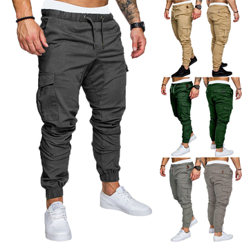 FREE Shipping Men Cargo Pants Hip Hop Harem Joggers Pants New Male Trousers Solid Multi-pocket Pants Skinny Fit Sweatpants