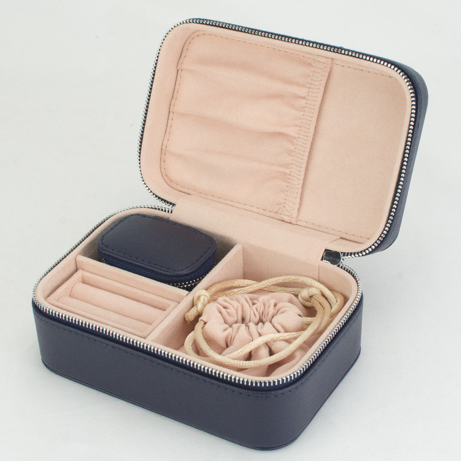 Wholesale Trinket Velvet Organizer Ring Box Leather Jewelry Travel Case