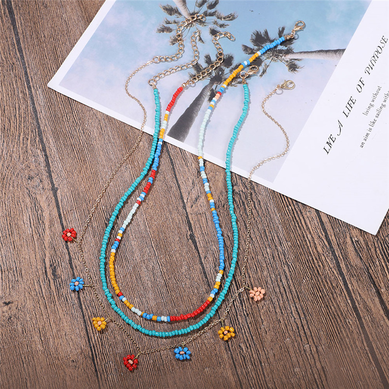 KM002 Trade Assurance New Fashion Bohemia Multilayer Handmade Beaded Flower Necklace Personality Seed Beads Clavicle Necklace