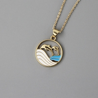 925 Sterling Silver Dolphin Necklace dainty gold color lovely round disc ocean wave and dolphin necklaces