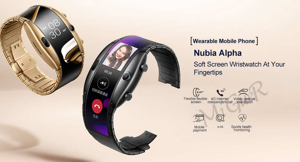 "New Nubia ALPHA Watch phone 4.01"" foldable flexible display Sports Real-time message reminder Bluetooth calling Mid-air gestures"