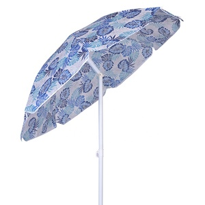 China manufacturers non woven material steel frame tilt twist-in leaf design commercial custom printed beach umbrella large