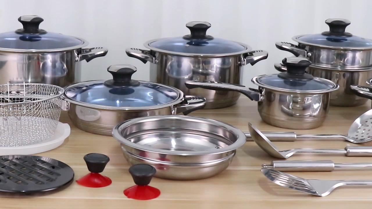 Nieuwe Collectie 30Pcs Rvs Pannenset Koken Pan Set Keukengerei Gift Set Met Blauw Glas Deksel