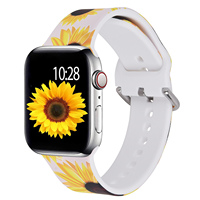 For Apple Watch Silicone Band, INS Fashion Printed Sunflower Silicone Strap 38/40/42/44mm for Apple Watch Series 3 4 5