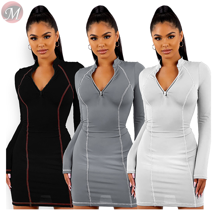 9112710 hot sell side stripe zipper solid slim bodycon mini Ladies Casual Dresses Women