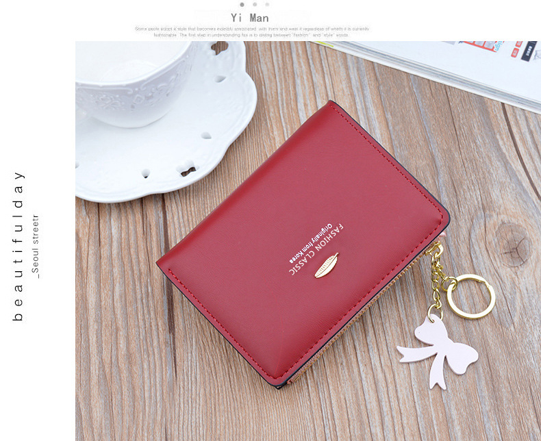 Latest fashion Short mini ladies zipper cards wallet Korean soft PU leather womens wallets