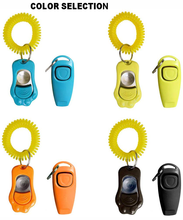 Eco friendly ABS plastic 2 in 1 dog training whistle , stop barking whistle with pet dog training clicker set