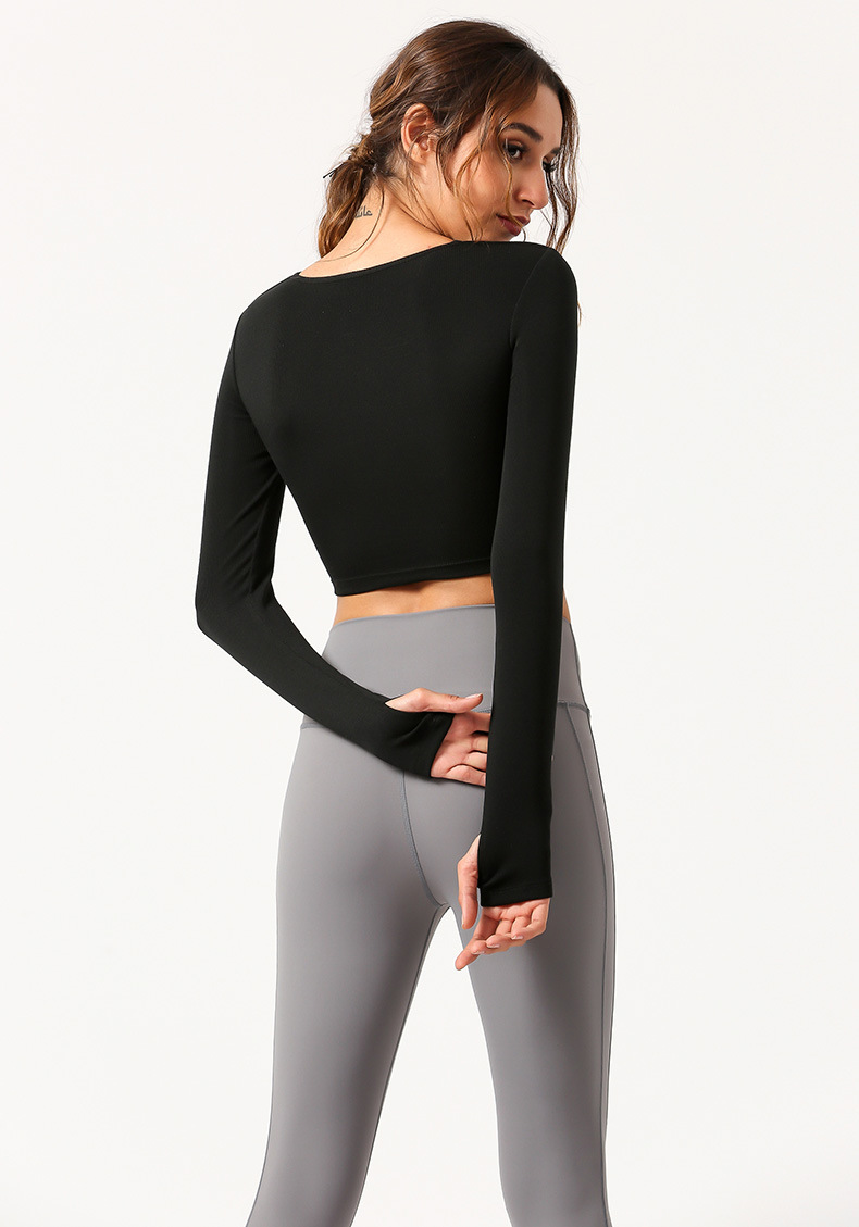 Custom Logo Women High Elastic Gym Wear Long Sleeve Crop Top Sports Top Running Shirt With Thumb Holes 10