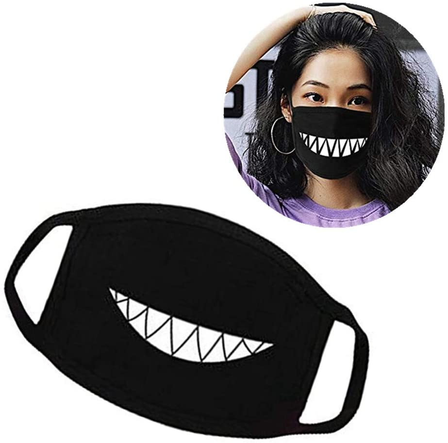 Shemax Mouth mask with decorations, unisex mask with polyester anti-dust and anti-infective personality print for men and women