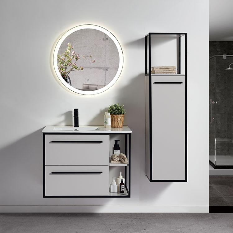OJANS Foshan Furniture Designs Floating Modern Single Washbasin Basin Led Mirror Washroom Toilet Bathroom Vanity Cabinet