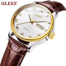 OLEVS, женские кварцевые часы, кожа, классическое платье, модные, простые, 3ATM, Hardlex, стекло, водонепроницаемые, круглый циферблат, женские наручн...(Китай)