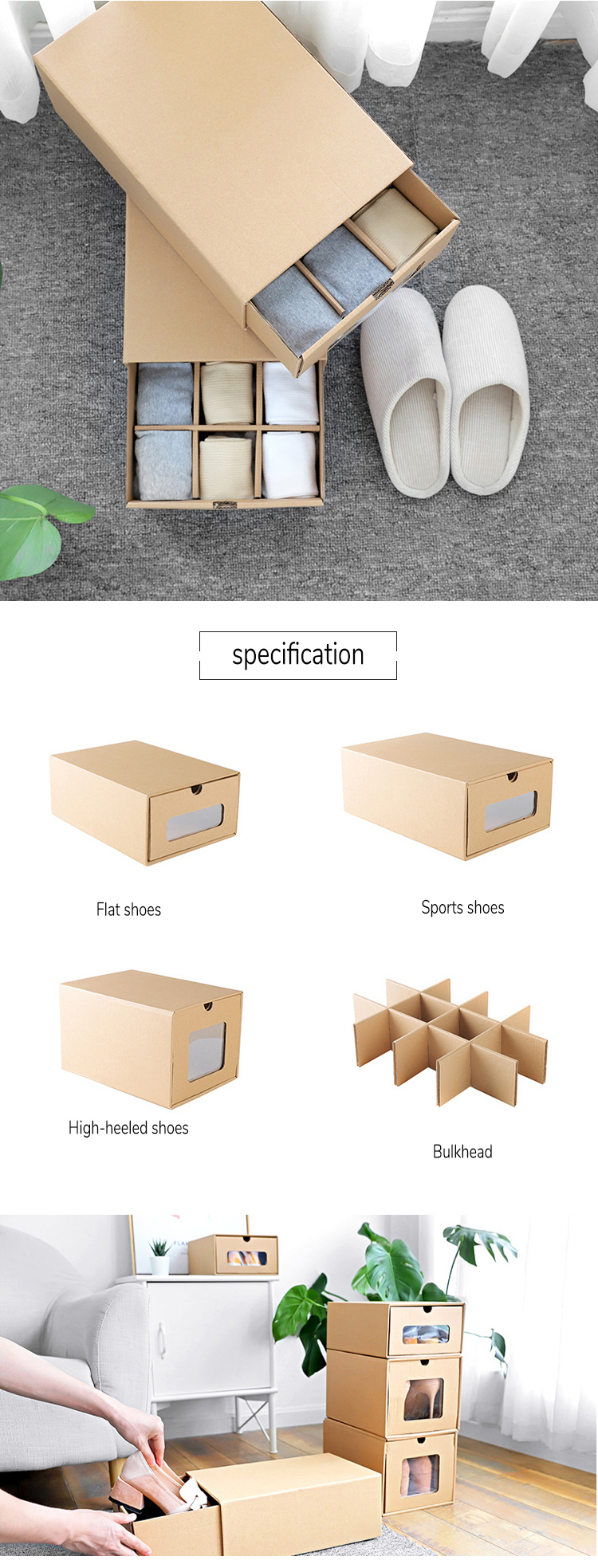 Luxury Clear Cardboard Made Shoe Box Packaging Boxes with Custom Logo