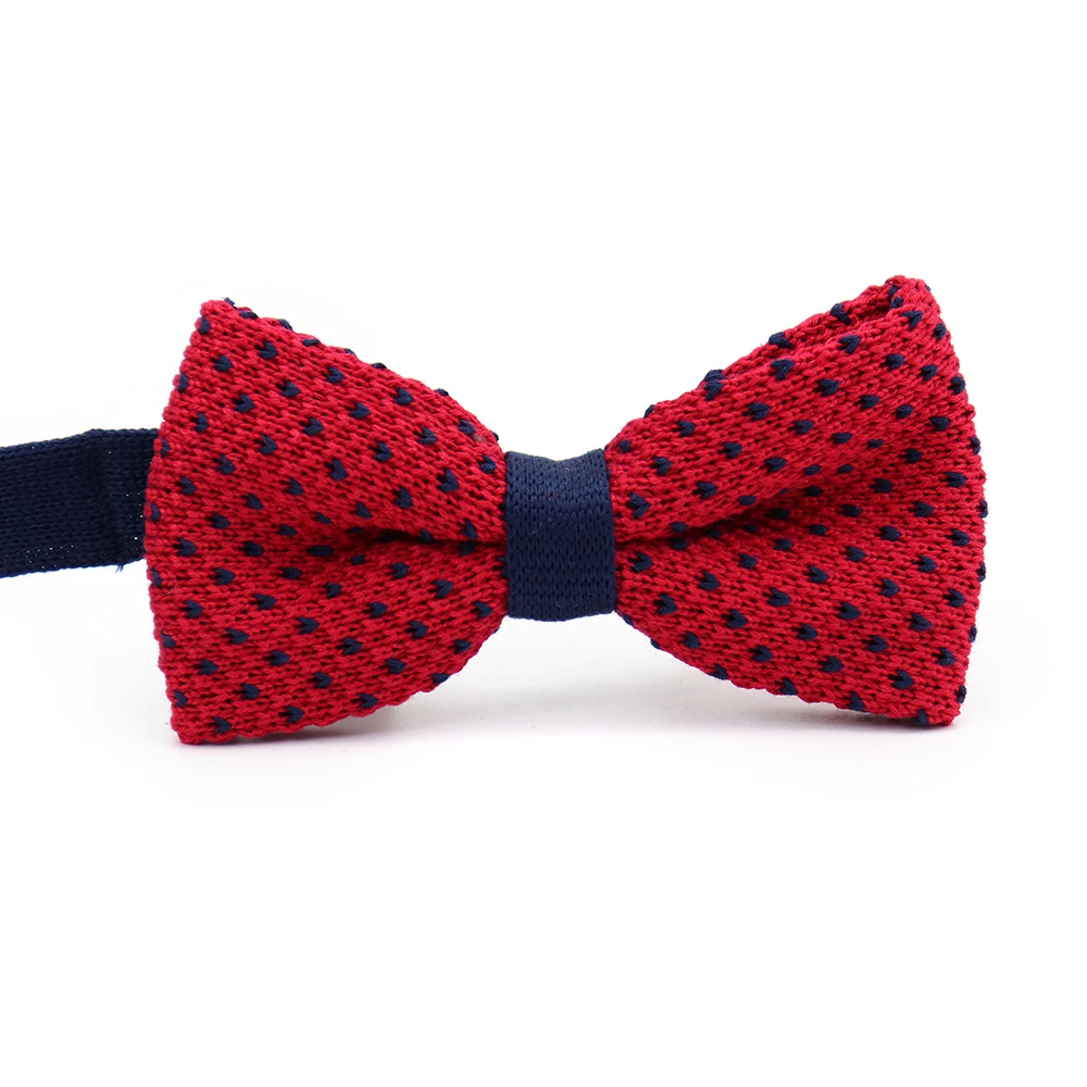Navy Blue White Striped Pre Tied Bow Tie Polyester Knit Elastic Band Bow Ties Wholesale