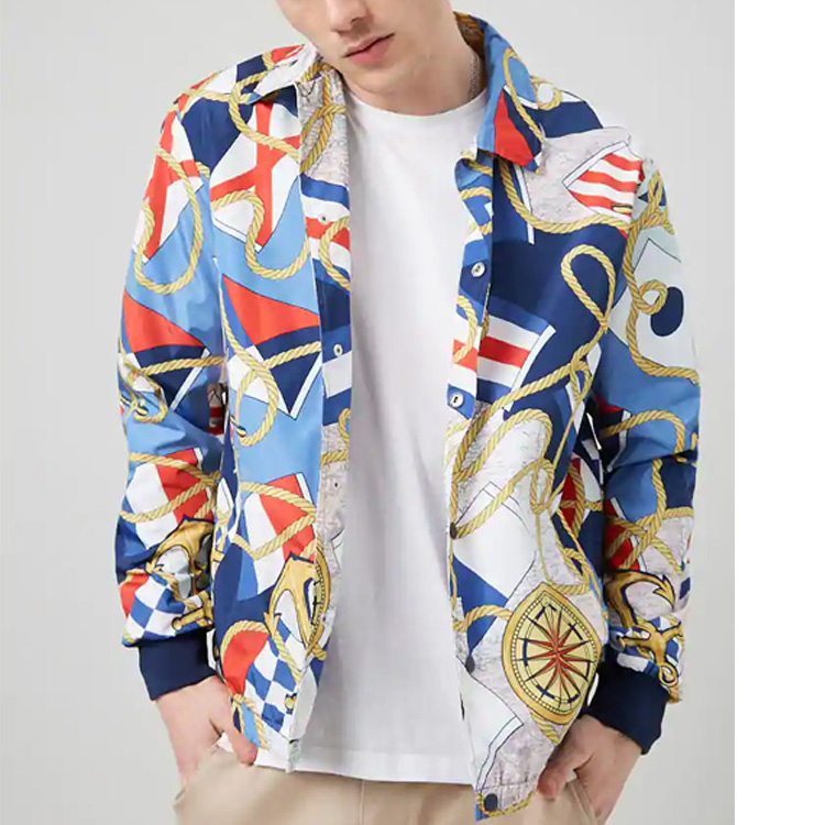 Matching Printing Zip-up Coat with Cap