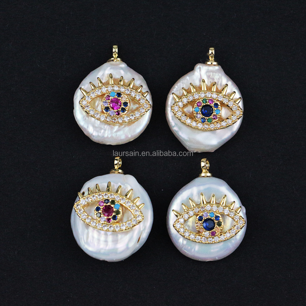LS-A113 Sparkly amazing! freshwater pearl charms with cubic zircon eye pendant charms fashion designs wholesale