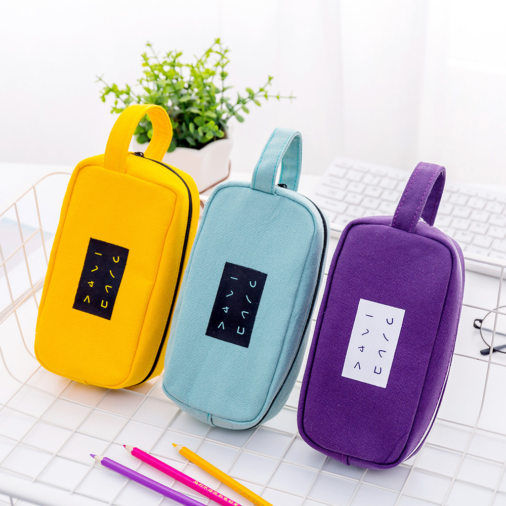 New Korean students simple text large-capacity pencil bag Creative canvas  pencil case custom