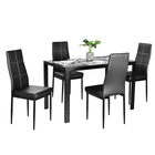 High gloss dining table glass and chair set room furniture