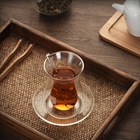 Turkish Glass Glass Transparent Heat Resistant Turkish Double Wall Tea Glass Cup Set With Saucer Spoon