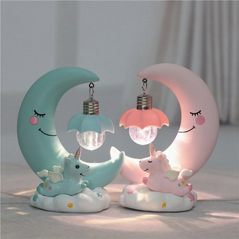 LED Night Light Unicorn Moon Cartoon Night Lamp Luminaria Bedroom Decoration