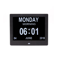 8 Inch Extra Large Digital Memory Loss Calendar Day Clock With Optional Day Cycle /Alarm Perfect For Seniors /Impaired Vision