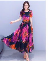 Элегантное шифоновое пляжное платье макси в стиле бохо, весна-лето, 4XL размера плюс, винтажное подиумное Платье с принтом, женские облегающи...(Китай)