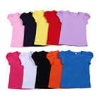 100% Cotton Girls T-shirts Classic plain tops for little girls kids clothing short sleeve shirts