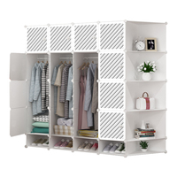 2020 Hot Selling DIY Modern Bedroom Foldable Clothes Plastic Cabinet, Wardrobe Storage Closet Plastic Wardrobes