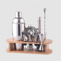 Factory Direct 700ml stainless steel professional bar set tools bamboo wood holder cocktail shaker bartender kit
