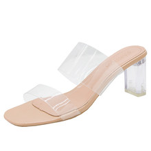 2020 женские сандалии-шлепанцы на прозрачном каблуке; Летняя обувь; Женские прозрачные шлепанцы; Тапочки на высоком каблуке; Модельные туфли-...(Китай)
