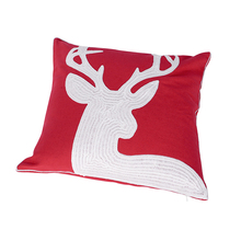High quality red Christmas embroidery cotton Pillow cushion cover