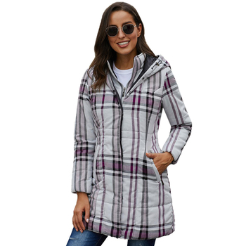 Wholesale Vintage Plaid Quilted Trench Coat Women Hooded Cotton Coat