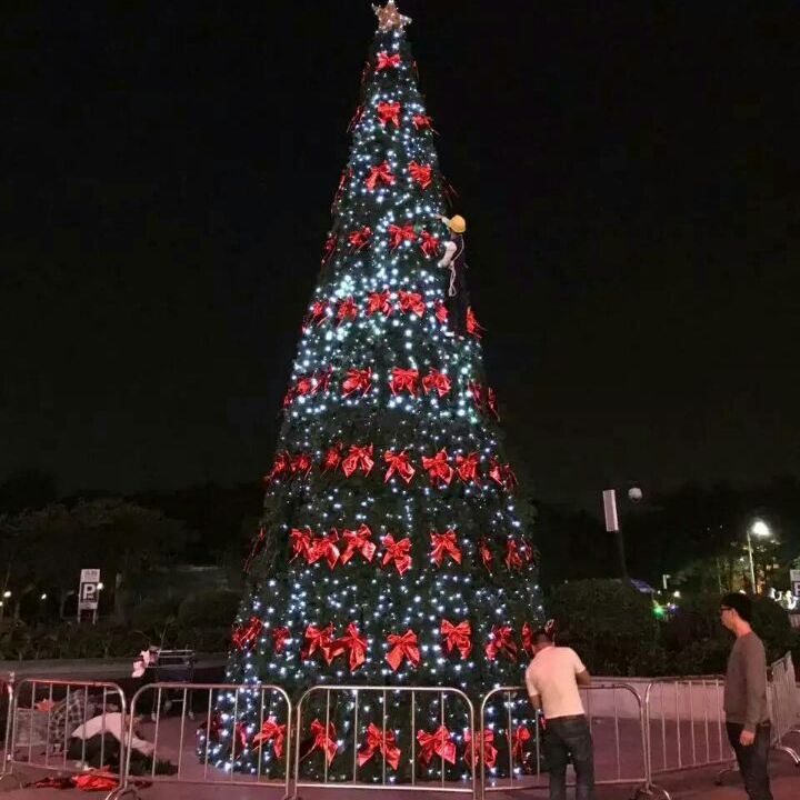 Artificial giant Christmas tree 5m to 20m with LED lights and plastic balls and stars for outdoor square and street decoration