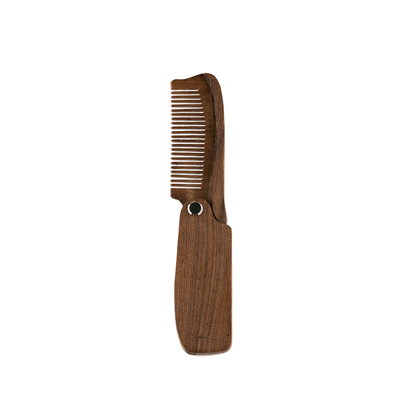 hot on Amazon men facial grooming beard straightening comb private label pocket folding wooden beard static comb and brush set