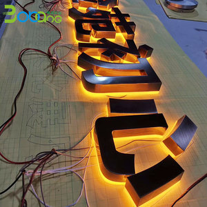 Bobang retro led double sided light sign letters metal word