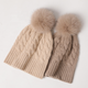 New arrival cable knit cap cashmere beanie hats with fox fur pom pom balls
