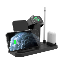 QI Fast Multi Detachable Split Desktop Cell Charger Wireless Charging 3in1 Docking Station Stand for iPhone Airpods Watch