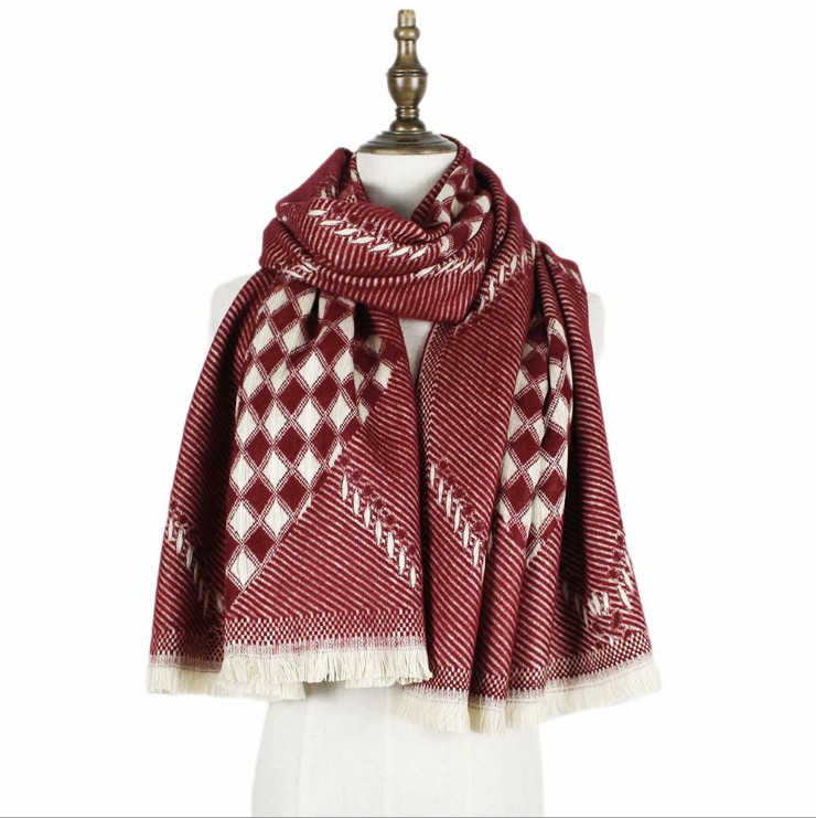 Chic Ruff Women's Fashion Winter Multicolored Chevron Shawl Cape long scarf  Poncho