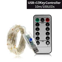 10 м USB светодиодный светильник, цветной Водонепроницаемый светодиодный медный провод, праздничный Сказочный светильник s для рождественско...(Китай)