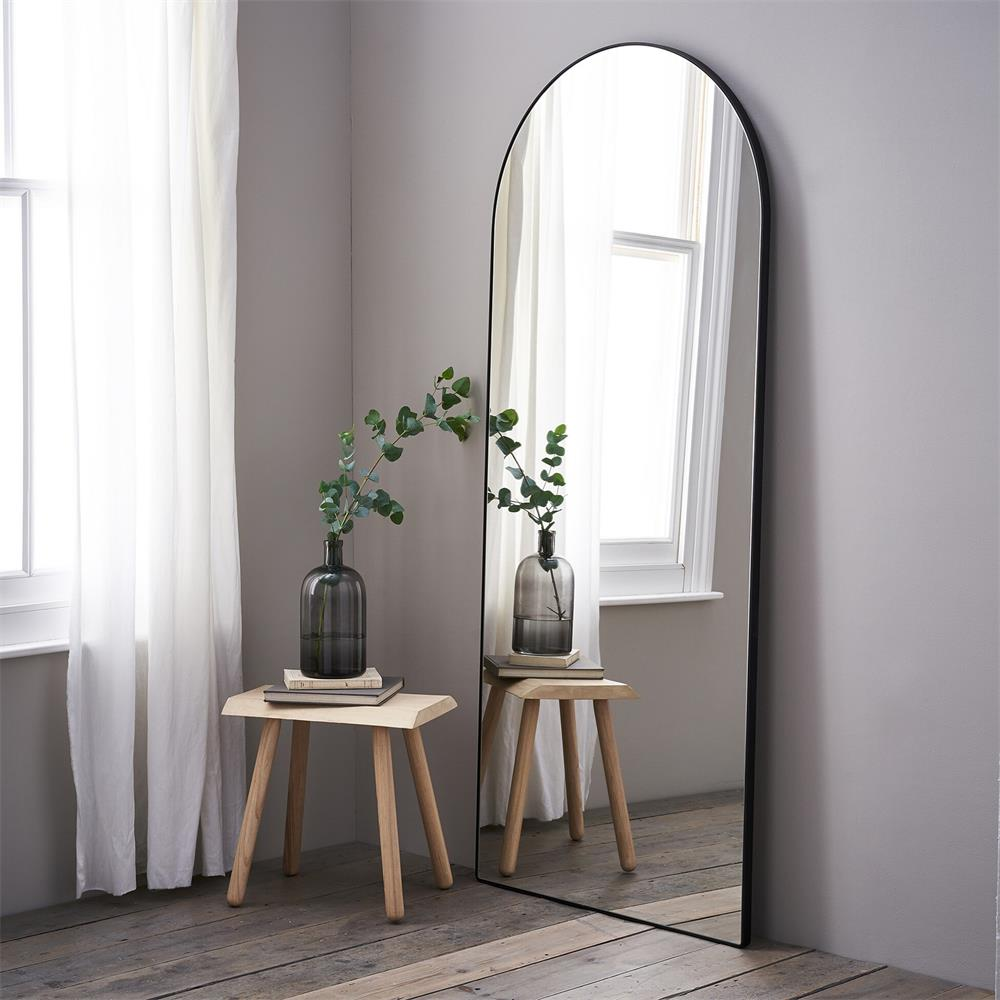 SWT wholesales modern black arched metal framed large full length dressing mirror for home and Hotel